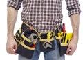 Carpenter wearing tool belt Royalty Free Stock Photo