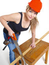 CARPENTER WOMAN Stock Photography