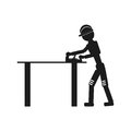 The carpenter is working on the table Vector black icon on white background.