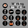 Carpenter working tools icons set construction instruments or stickers of engineering equipment and repair service Stock Photo