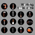 Carpenter working tools icons set construction or stickers of wrench hammer screwdriver and saw Royalty Free Stock Images