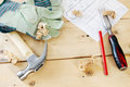 Carpenter working tools on the wooden boards Royalty Free Stock Photo