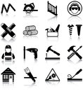 Carpentry related icons silhouettes Royalty Free Stock Image