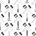 Carpentry seamless pattern with hammer, ax, saw