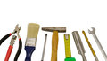 Carpentry work tools on white Royalty Free Stock Photos