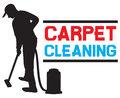 Carpet cleaning service man and a machine vacuum cleaner worker silhouette Royalty Free Stock Photography