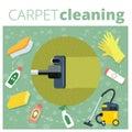 Carpet cleaning service vector illustration. Business concept de