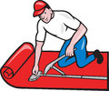 Carpet Layer Fitter Worker Cartoon Royalty Free Stock Photo