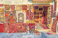 The carpet stall bukhara uzbekistan april wide range of hand made carpets in traditional style in small at toqi sarrafon bazaar Royalty Free Stock Photography