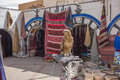 Carpet and wickerwork at the souk of douz tunisia Royalty Free Stock Image