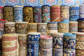 Carpets and kilims rolled up Royalty Free Stock Photo