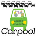 Carpool commuters vehicle with multiple in traffic illustration Stock Photos