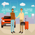 Carpooling concept vector illustration in cartoon style. Carpool and car sharing service poster. Two men shaking hands