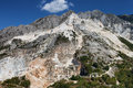 Carrara mountain and marble stone pit tuscany italy quarries on apuan alps Stock Image