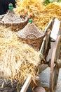 Carrello di legno di autunno Immagine Stock Libera da Diritti