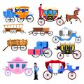 Carriage coach vector vintage transport with old wheels and antique transportation illustration set of coachman Royalty Free Stock Photo