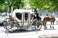 The carriage with a horse goes down street cities Stock Photos