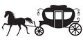 Carriage and horse silhouette image drawn Stock Photography