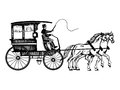 Carriage with horses engraving style vector Royalty Free Stock Photo