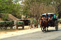Carriage in myanmar mandalay march unidentified of passengers and carrying supplies the highway runs along to a village on march Royalty Free Stock Photos