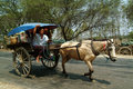 Carriage in myanmar mandalay march unidentified of passengers and carrying supplies the highway runs along to a village on march Royalty Free Stock Images