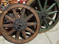 Carriage wheel sold like decoration in a bazaar in bucharest romania Stock Photography
