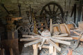 Carriage wheels workshop the interior of an ancient of a maker Royalty Free Stock Photo