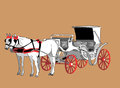 Carriage white horse color illustration Stock Photo