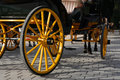 Carriage yellow wheel closeup of nice vintage coach with big Royalty Free Stock Photos