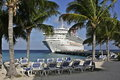Carribean cruise ship docked by island grand turk Stock Photos