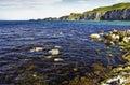 Carrick a rede rope bridge coast northern ireland county antrim Stock Photos