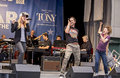 """Carrie st louis aaron c finley and josephine rose roberts belt out don t stop believin from rock of ages at """"stars in the alley Stock Photography"""