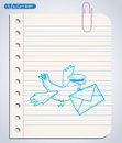 Carrier pigeon with pilot cap and letter. Hand-drawn vector