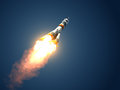 Carrier Rocket Soyuz-FG Takes Off Royalty Free Stock Photo