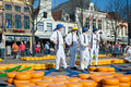Carriers at Alkmaar cheese market Royalty Free Stock Photo