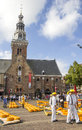 Carriers working in the dutch cheese market famous alkmaar netherlands event happens waagplein square Royalty Free Stock Photography