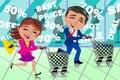 image photo : Couple Running Shopping Sale Window Shop Cart