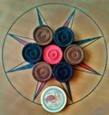 Carrom Carom 6 coin coins 1 six one stricker board Royalty Free Stock Photo