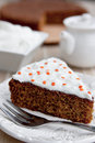 Carrot cake with cream cheese frosting Stock Photography