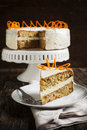 Carrot cake with nuts homemade Stock Images