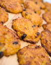 Carrot cookie with raisins. Royalty Free Stock Image