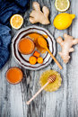 Carrot ginger immune boosting anti inflammatory smoothie with turmeric and honey detox drink morning juice clean eating Stock Photos