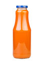 Carrot juice bottle on white background Stock Photo