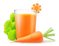 Carrot juice and a glass of over white background Royalty Free Stock Photography