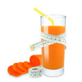 Carrot juice and meter on white background Stock Photos