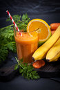 Carrot orange smoothie. Healthy lifestile. Green concept. Royalty Free Stock Photo
