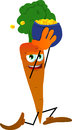 Carrot running with a pot of gold vector style illustrated vector format is available Stock Photo
