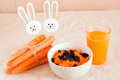 Carrot salad and juice Stock Images