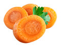 Carrot slices clipping path isolated on white background Royalty Free Stock Photo