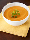Carrot soup on a table Stock Images